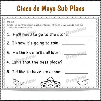 2nd Grade Sub Plans Cinco de Mayo