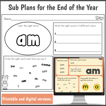 Kindergarten Sub Plans End of the Year