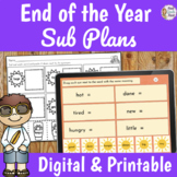 End of the Year Sub Plans 2nd Grade