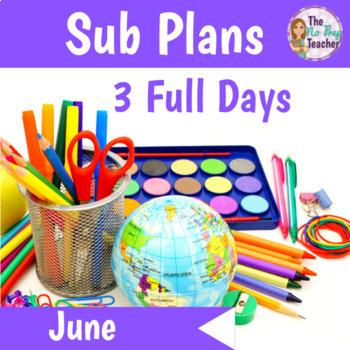 1st Grade Sub Plans June 3 Full Days