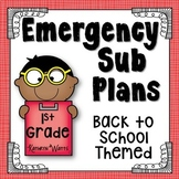 1st Grade Sub Plans Back to School