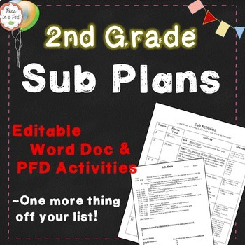 Sub Plans ~ 2nd Grade Substitute Plans