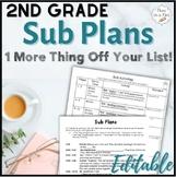 Sub Plans ~ 2nd Grade Substitute Plans
