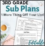 Sub Plans ~ 3rd Grade Substitute Plans