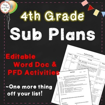 Sub Plans ~ 4th Grade Substitute Plans