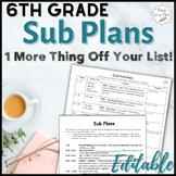 Sub Plans ~ 6th Grade Substitute Plans