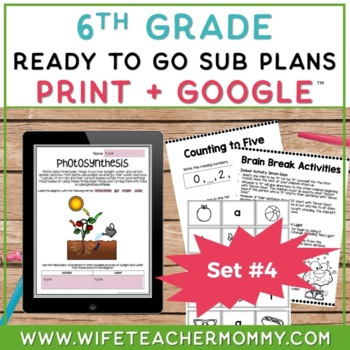 Sub Plans 6th Grade Ready To Go for Substitute. DAY #4. No Prep. One full day.