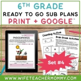 Sub Plans 6th Grade Set #4- Emergency Substitute Plans Sixth Grade for Sub Tub