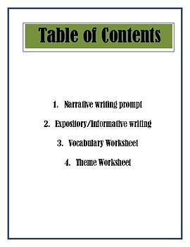 Sub Plans ELA. Writing, theme and vocabulary practices.