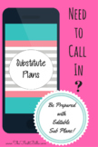 Sub Plans Editable Emergency Pack!