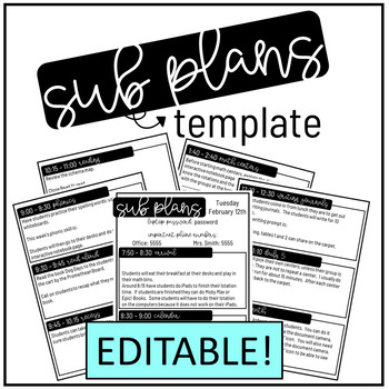 Sub Plans Editable Template