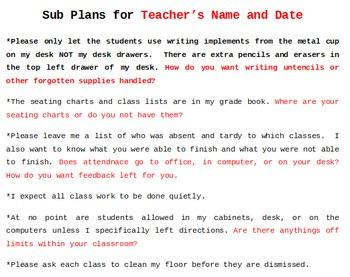 Sub Plans Form Freebie