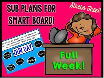 "Sub Plans ""Full Week"" Bundle for Smart Board Use"