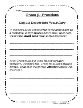 Sub Plans- Grace for President- No Prep (Sub Tub)
