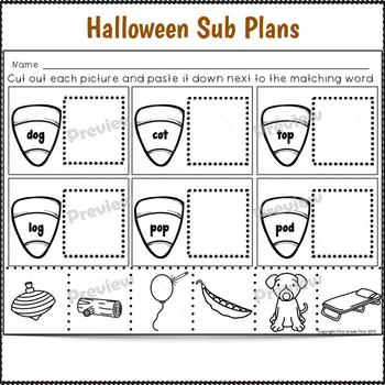 1st Grade Sub Plans Halloween
