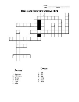 Sub Plans: House and Furniture Crossword #1