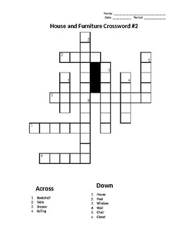 Sub Plans: House and Furniture Crossword #2
