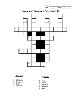 Sub Plans: House and Furniture Crossword #3