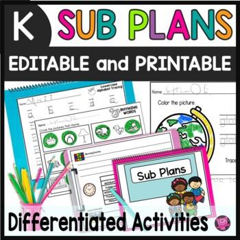Sub Plans Year Long Kindergarten Lesson Plans