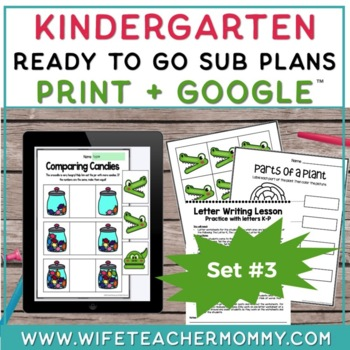 Kindergarten Sub Plans Ready To Go for Substitute DAY #3. No Prep. One full day.