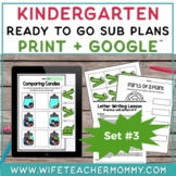 Sub Plans Kindergarten Ready To Go for Substitute DAY #3.