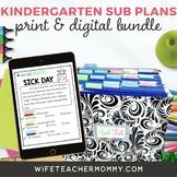 Kindergarten Sub Plans- Emergency Substitute Bundle Print + Google Slides