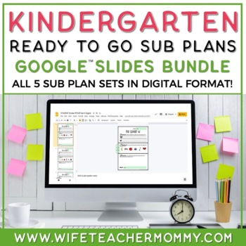 Sub Plans Kindergarten Ready To Go for Substitute. No Prep. THREE full days.