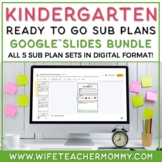 Sub Plans Kindergarten Ready To Go for Substitute. No Prep. THREE Day Bundle