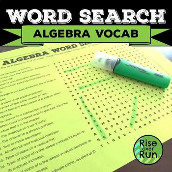 Sub Plans, Math Word Search: Algebra Vocabulary