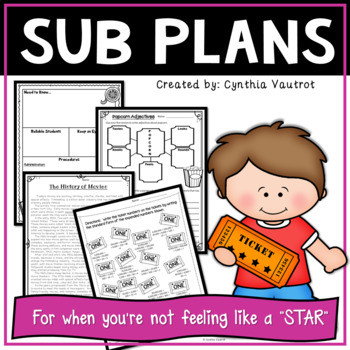 Sub Plans - Substitute Lesson Plans for 4th Grade Movie Theme