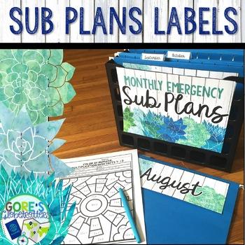 Sub Plans Organizer Labels Blue and Green Watercolor Shiplap Succulents
