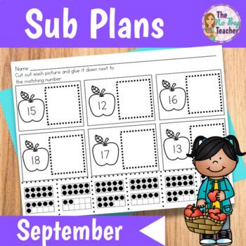 Kindergarten Full Day Sub Plans September