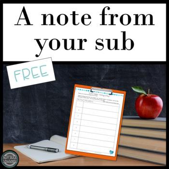 Sub Plans • Sub Binder • Substitute