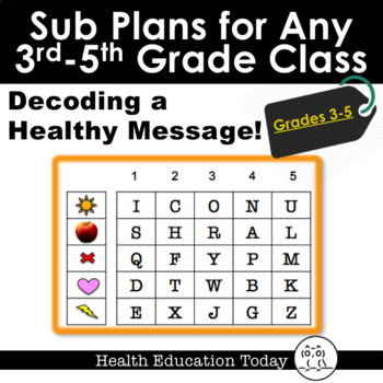 Sub Plans for Any Elementary Class 3rd-5th: Decoding a Healthy Message!