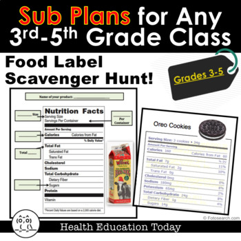 Sub Plans for Any Elementary Class 3rd-5th: Food Label Sca