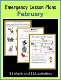 Sub Plans for February (Emergency Lesson Plans)