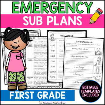 First Grade Sub Plans Made Easy- 2 Full Days Ready to Go!