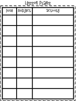 Sub Plans for First Grade