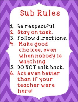 Sub Rules Printable