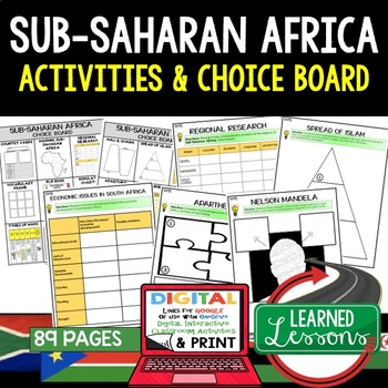 Sub Saharan Africa Choice Board Activities (Paper and Google Drive) Geography