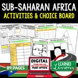 Sub Saharan Africa Activities Choice Board, Digital Distance Learning & Print