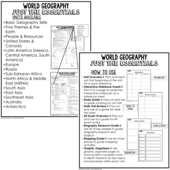 Sub-Saharan Africa Geography Outline Notes JUST THE ESSENTIALS Unit Review