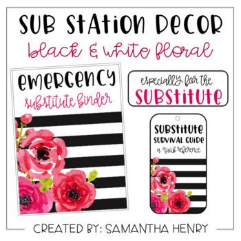 Sub Station Decor - Black & White Floral