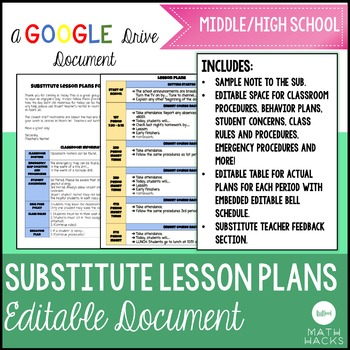 Sub Plan Template For Back To School Perfect For New Teachers By