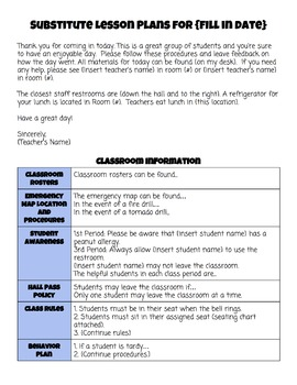 Sub Plan Template for Back to School! Perfect for New Teachers!