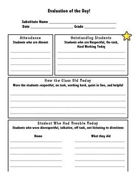 Sub Tub Evaluation Sheet