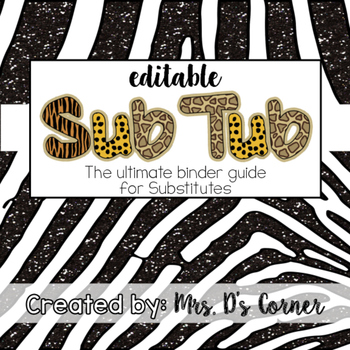 Editable Substitute Binder { Jungle } The Ultimate Sub Bin