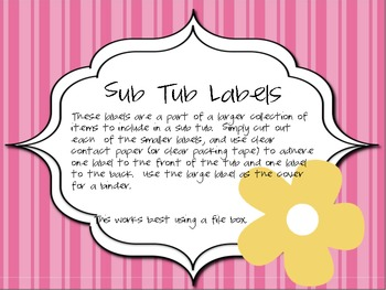 Sub Tub Labels - Pink with Yellow Flower