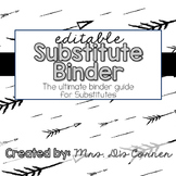 Editable Substitute Binder { Modern Black White } The Ulti