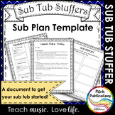 Music Sub Tub Stuffers: Music Sub Plan Template - Substitute Plans Editable